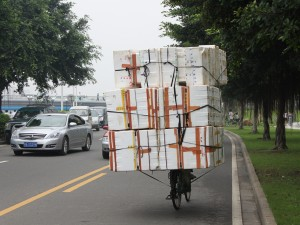 Styrofoam Containers on Bicycle