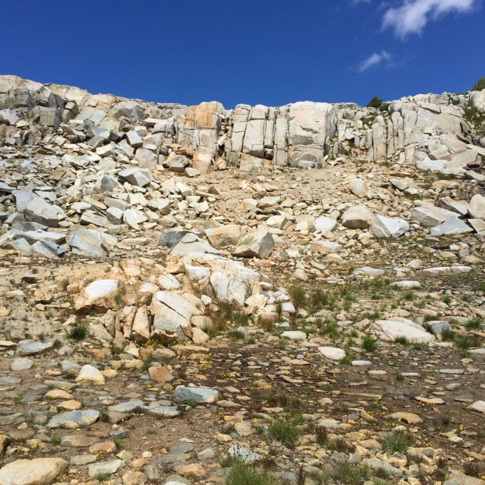 Walls east of Piute Pass and dry tarns