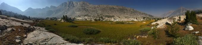 SHR pano view of knapsack and peak 12266 ridge