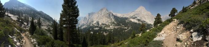 SHR view down into lecontecanyon langille peak from bishop pass trail