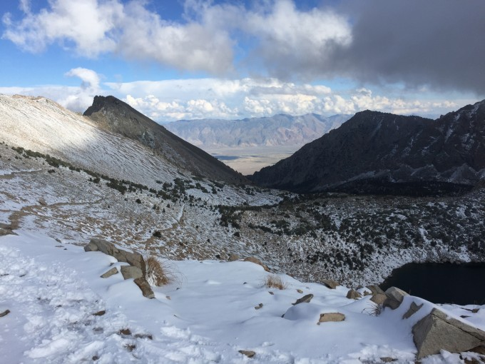 A view east towards Owens Valley from Kearsarge Pass.