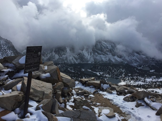 A view southwest from Kearsarge Pass.