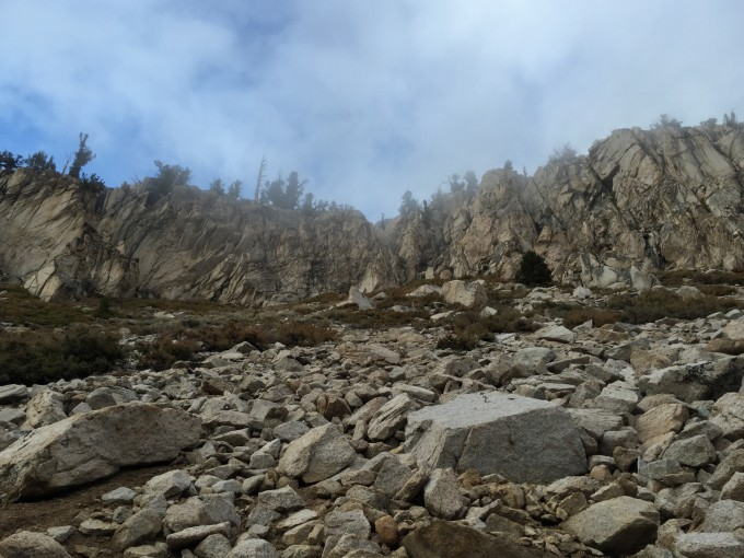 A cliff face possibly familiar to anyone who has hiked the PCT and exited via the Bullfrog Trail and Kearsarge Pass.