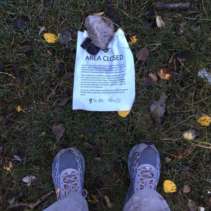 In the morning, at Junction Meadow, I found this note. Someone had put notes all up the trail to Vidette Meadow, but nobody had taken them down yet. Yes, very wet feet (and trainers)!